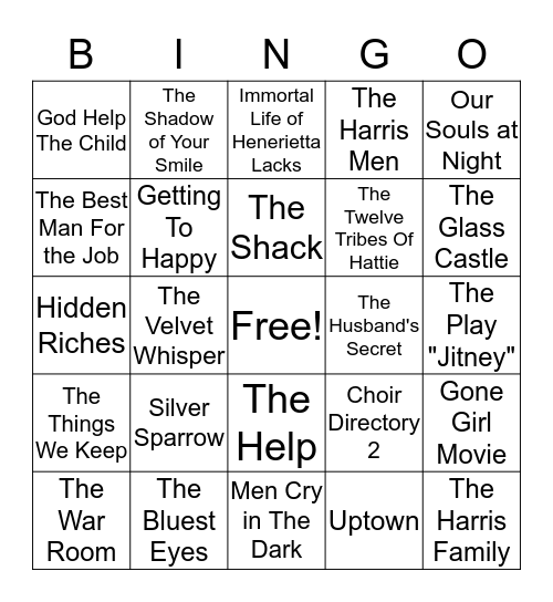MILLENNIUM READERS BOOK CLUB Bingo Card