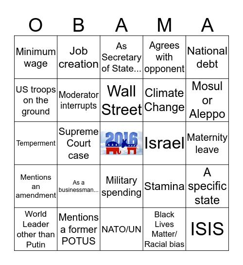 POTUS Debate 10/19/16 #2A Bingo Card