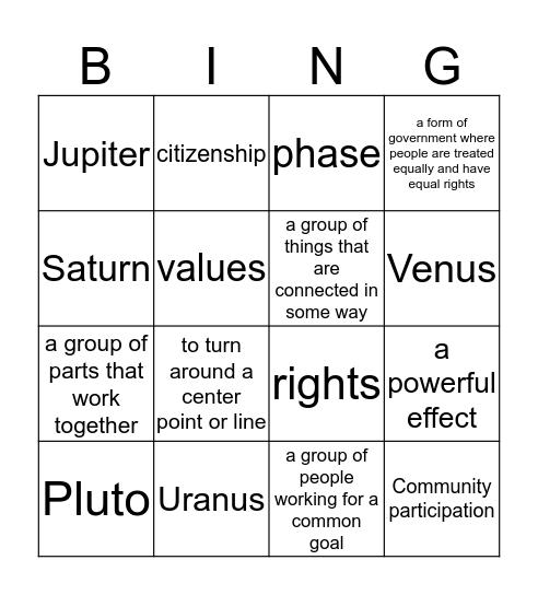 Vocabulary Words Bingo Card