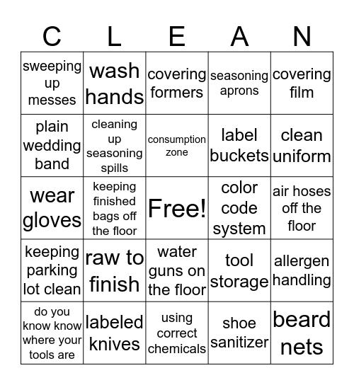 Personal Practices Bingo Card
