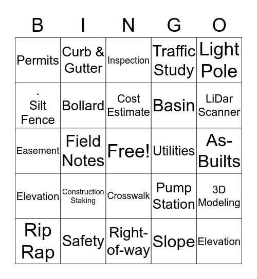 Engineering Bingo Card