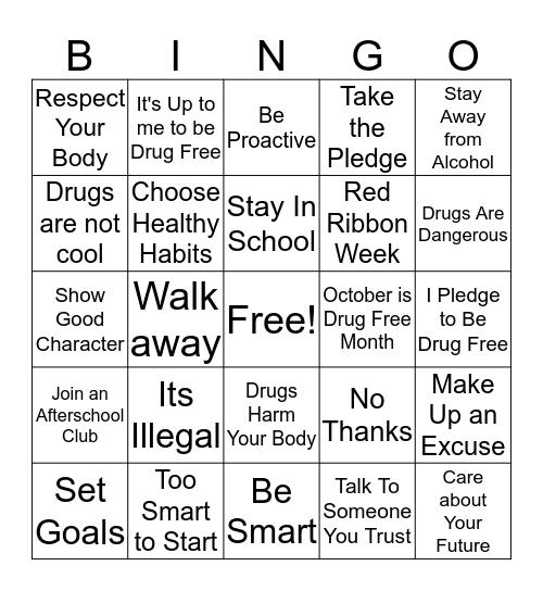 Drug Free Bingo Card