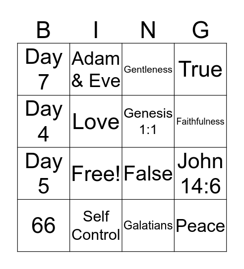 KSG LESSON 1-4 BING Bingo Card