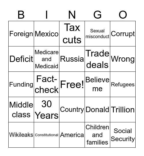 WPA Presidential Debate Bingo Card