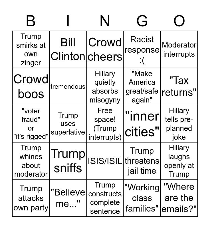 Presidential Debate Bingo! Bingo Card