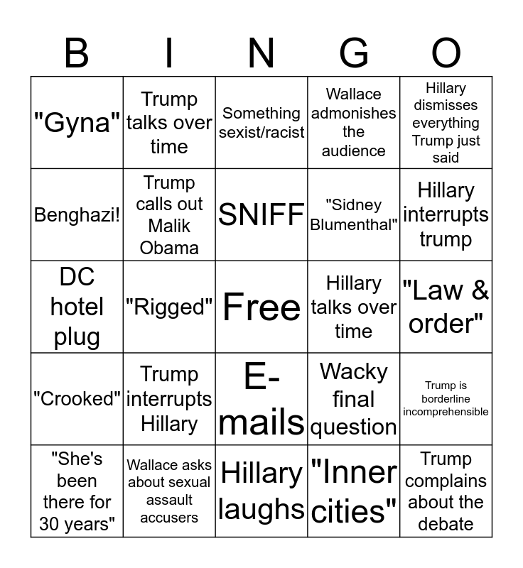 MAKE BINGO GREAT AGAIN Bingo Card