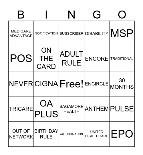 CERNER REGISTRATION Bingo Card