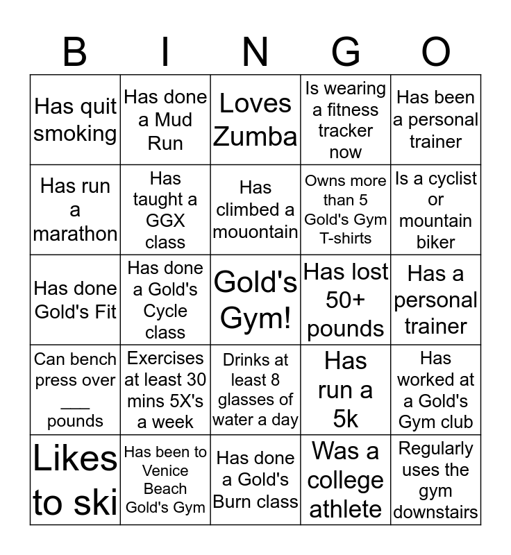 Gold's Support Center Bingo Card