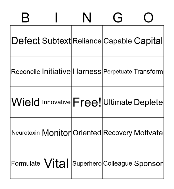 True SuperHeroes Bingo Card