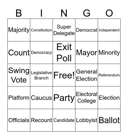 Election Day Bingo Card