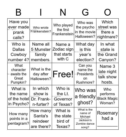 EDBS Fact Scavenger Hunt Bingo Card