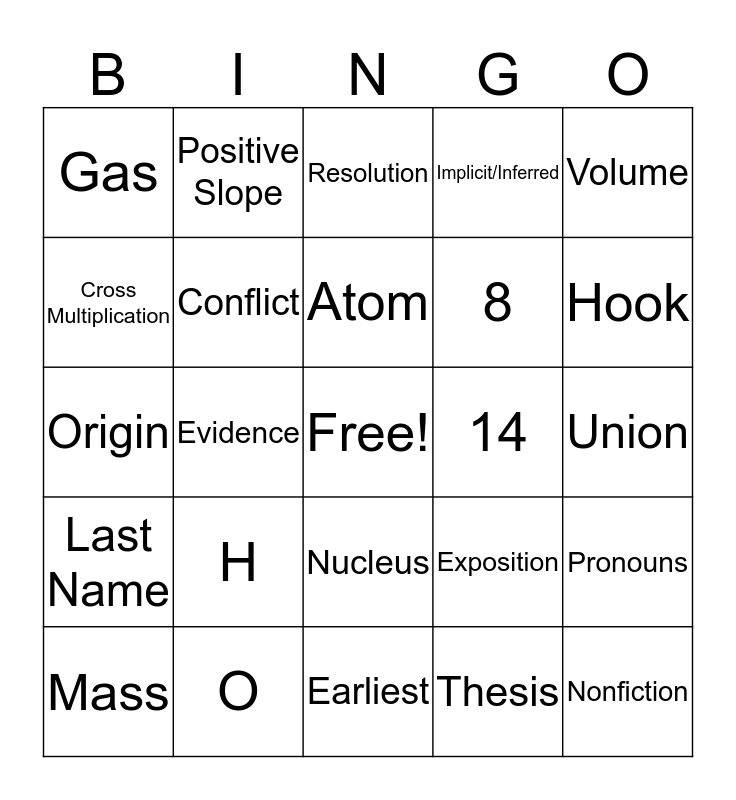 Middle School Halloween Bingo Card