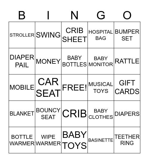 Maggie's Baby Shower Bingo Card