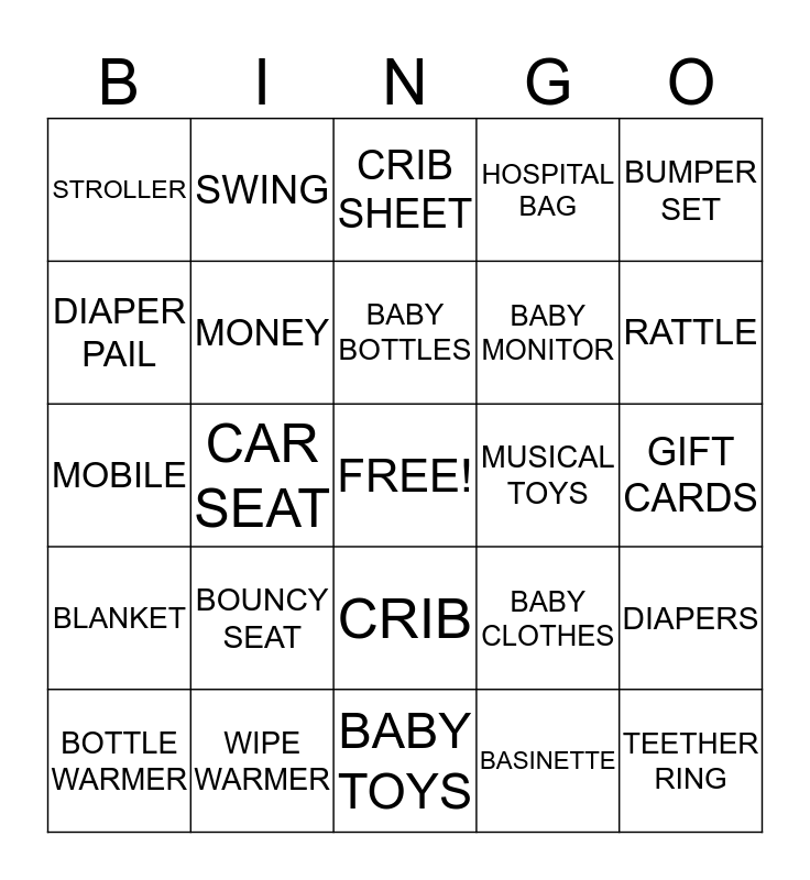 Maggie's Baby Shower Bingo Card