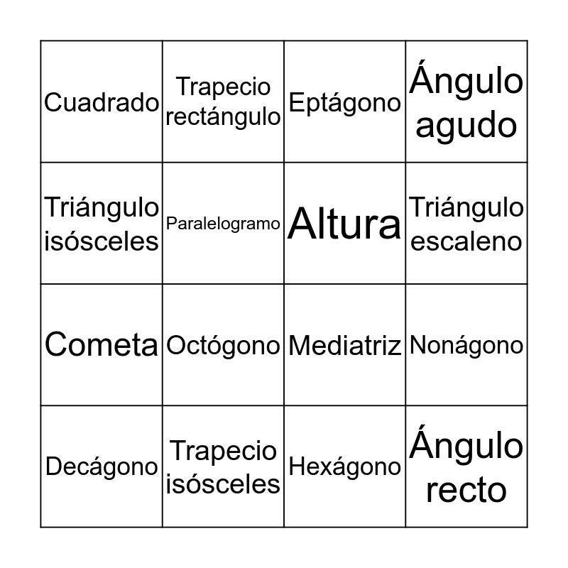BINGO GEOMETRÍA DEL PLANO Bingo Card