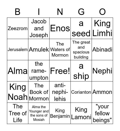 Book of Mormon Bingo! Bingo Card