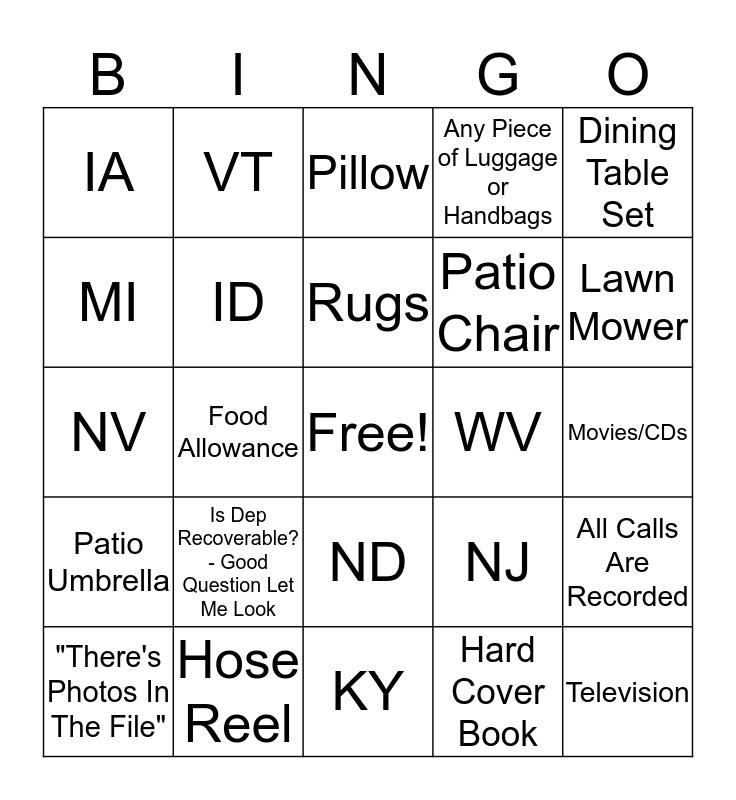 Team E Bingo  Bingo Card