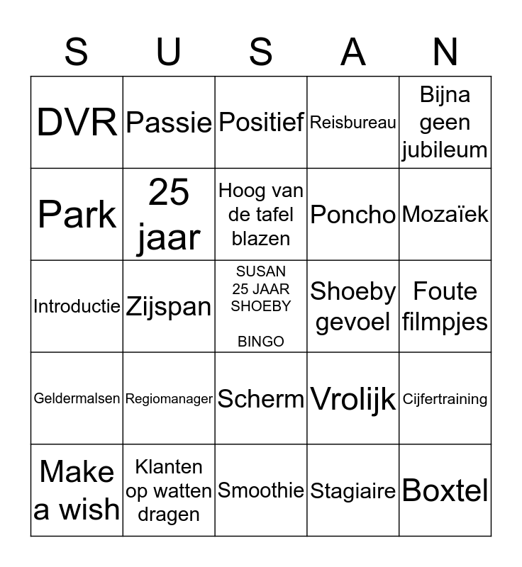 Susan 25 jaar SHOEBY BONUS BINGO Card