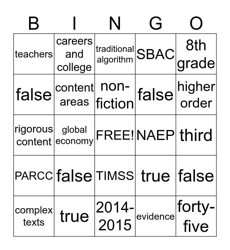 CCSS Bingo Card