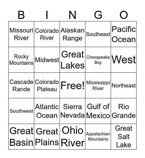 Geographical Features of the US Bingo Card