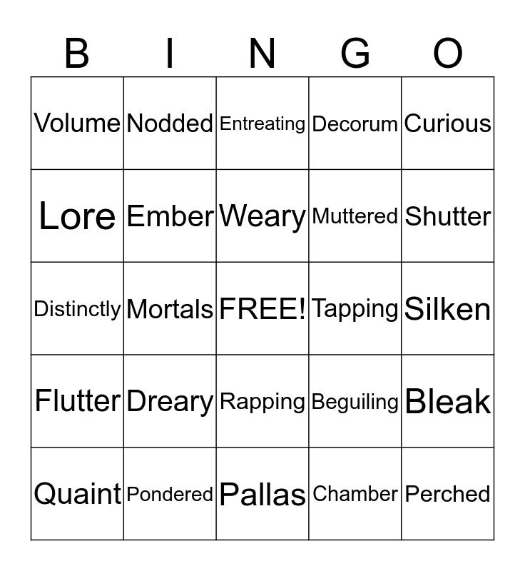 The Raven Bingo Card