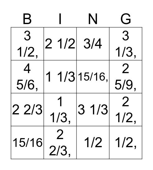 Fraction Action Bingo Card