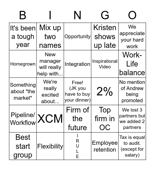 Firm Meeting Bingo Card