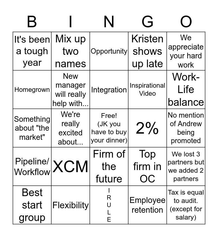 Firm Meeting Bingo Card