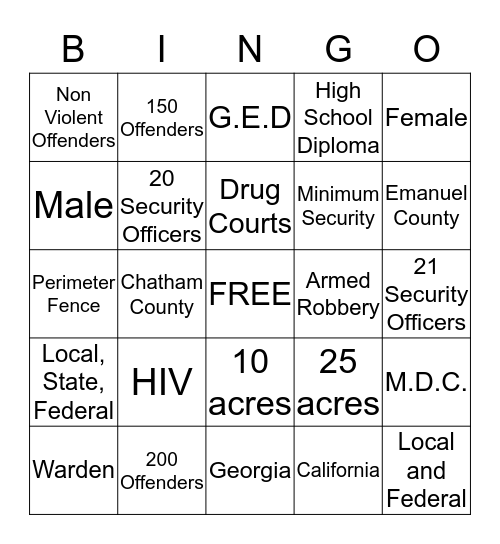 Alternative to Incarceration Bingo Card