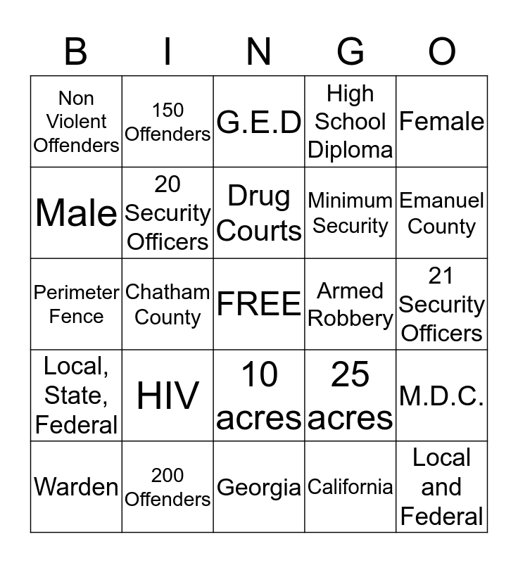 Alternative to Incarceration Bingo Card