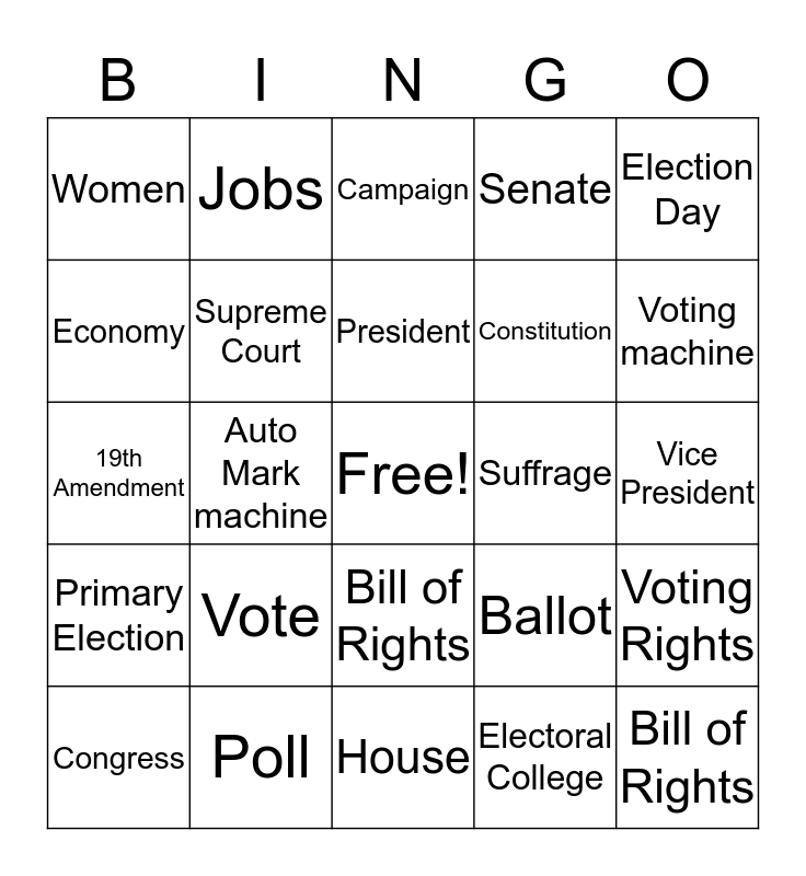 KNOW YOUR GOVERNMENT Bingo Card