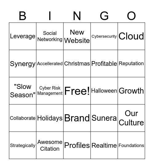 All Hands Bingo Q4 2016 Bingo Card