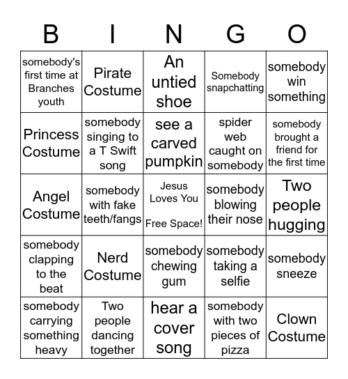 Branches Youth Halloween Bingo Card