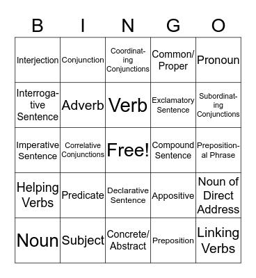 EEL Review Bingo Card