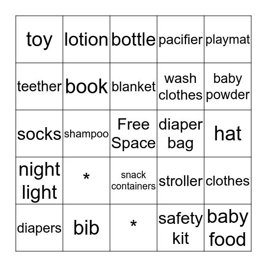 Baby Shower Gift Bingo Card