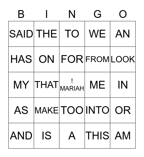 SIGHT WORD BINGO 2 Bingo Card