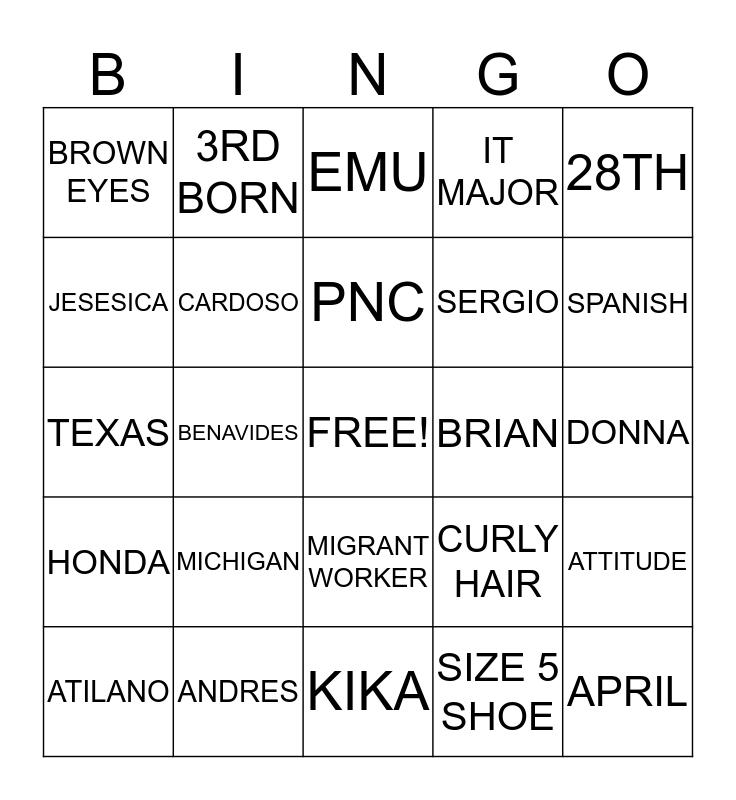 ERICA Bingo Card