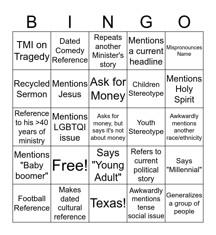 Sermon Bingo Card