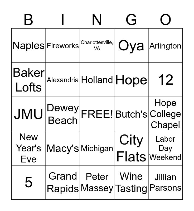 Jacqui & Ed Bingo Card