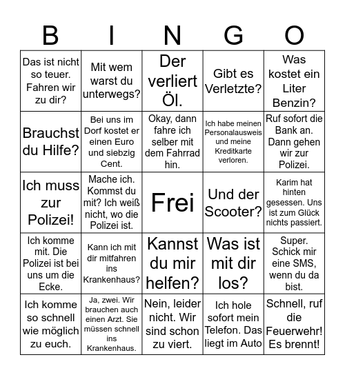 Redemittel M3  Bingo Card