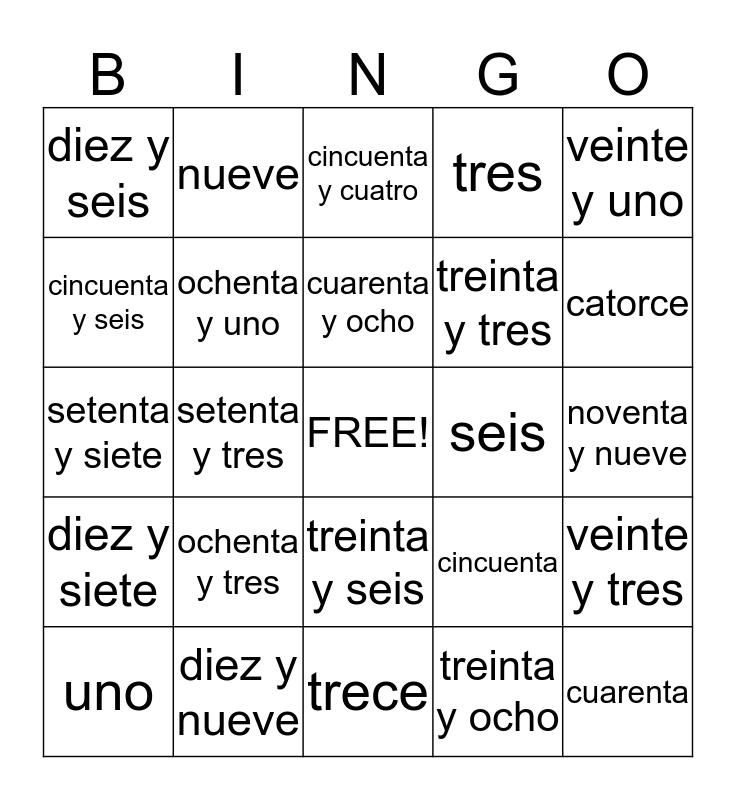 Bingo de los Numeros Bingo Card
