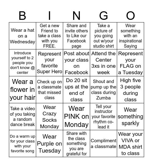 "Viva DanceFit ""BINGO"" Challenge Bingo Card"