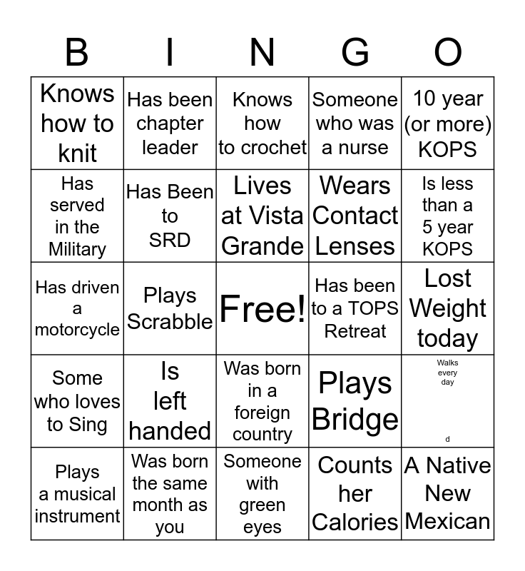 Get Acquainted With TOPS Frieds Bingo Card
