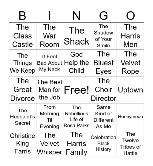 MILLENNIUM READERS BOOK CLUB Bingo Card
