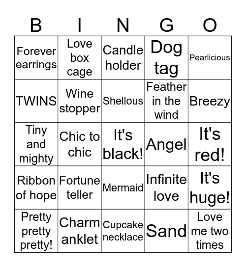 Pearl Party Bingo Card
