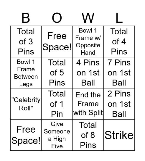 RSM Bowling Bingo Card