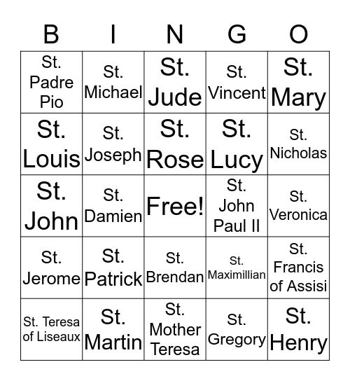 Saints Bingo Card