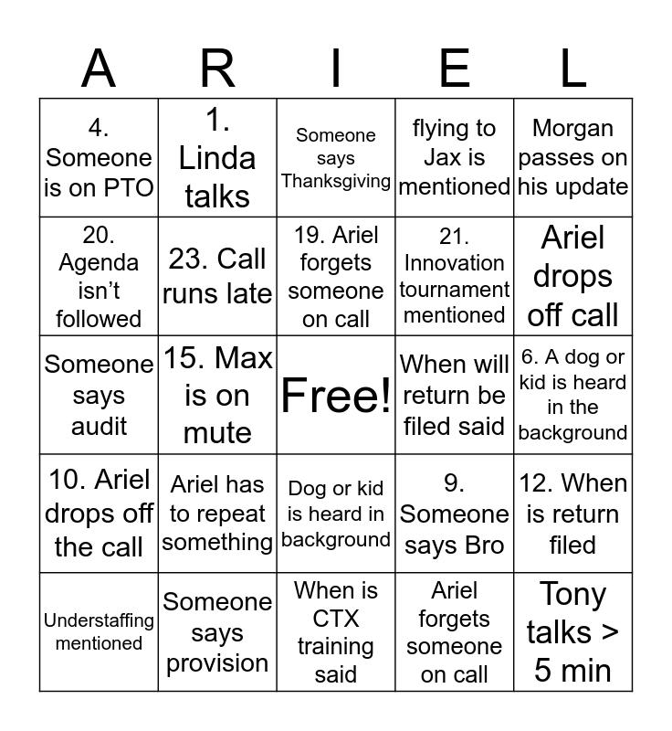 STATUS CALL Bingo Card