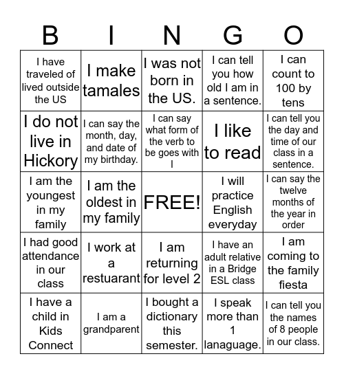 Bridge English Class Bingo Card