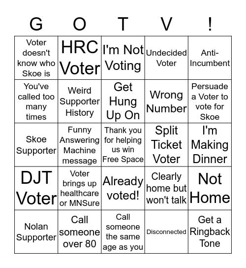GOTV Bingo Card